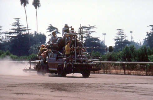 Chasing racehorses at Santa Anita
