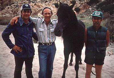 From left to right - Glenn (Jr) Randall [Stunt Coordinator], Walter Farley, Cass Ole and Corky Randall [Horse Trainer]