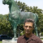 Tim Farley with Horse Statue
